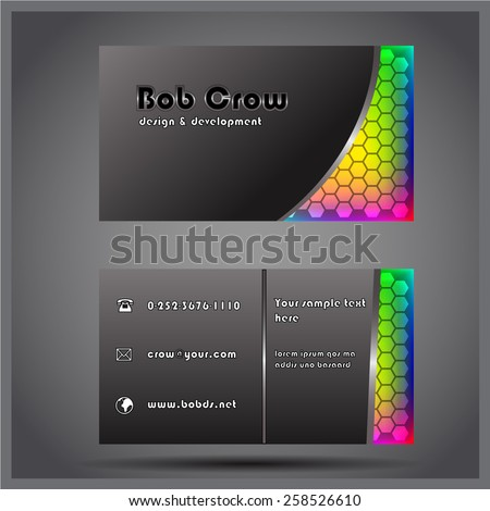 Metalized colored two-sided vector business visit card - stock vector