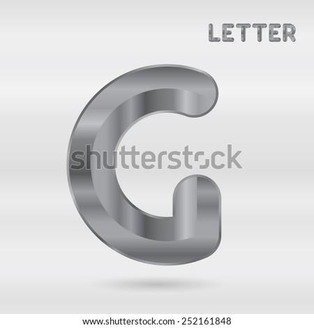 Metallic alphabet. Set of stainless 3d letters. Vector letter G. - stock vector