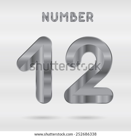 Metallic alphabet. Set of stainless 3d numbers. Vector digits 1 and 2 - stock vector
