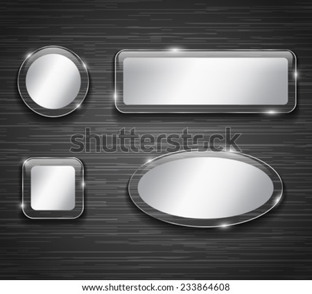 Metallic and glass buttons on brushed metal background. Vector illustration - stock vector