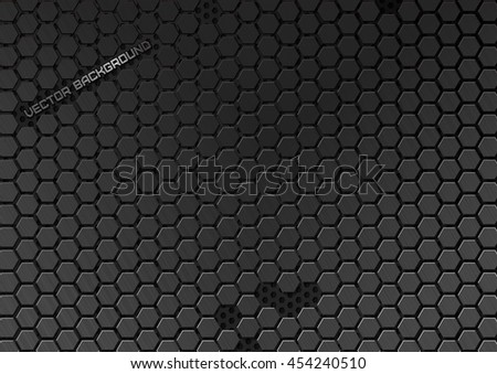 Metallic backdrop with hexagon grid. Abstract geometric metallic background. Carbon steel honeycomb. Vector futuristic background