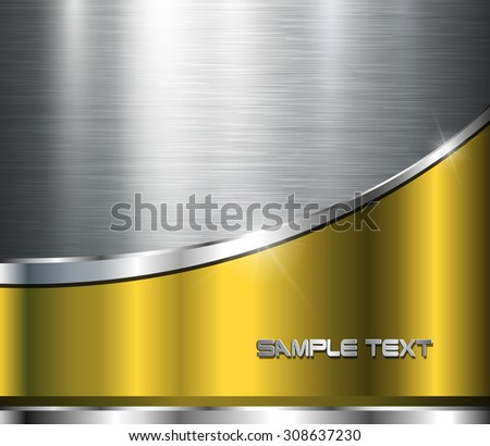 Metallic background polished steel texture, vector design. - stock vector