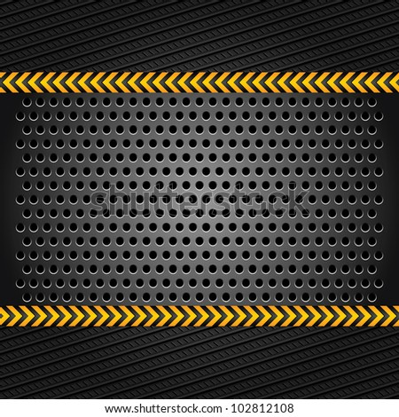 Metallic background template, perforated iron sheet - stock vector