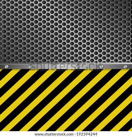 metallic background with grate texture and yellow and black stripes - stock vector