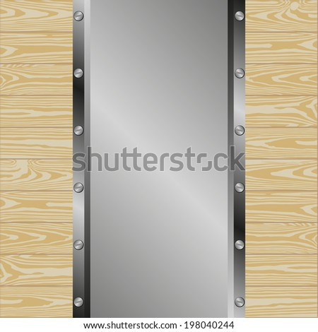 metallic background with wooden planks
