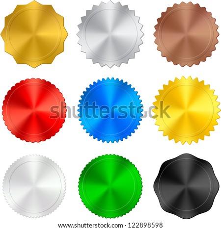 metallic badges - stock vector