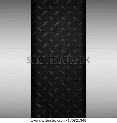 metallic black diamond plate background brushed metal panels - stock vector