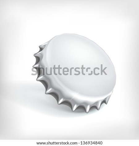 Metallic bottle cap on white background - stock vector