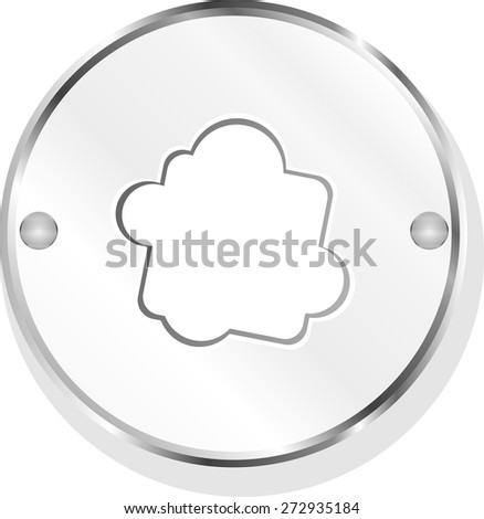 metallic button with cloud icon vector - stock vector
