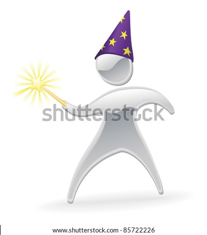 Metallic cartoon mascot character wizard and wand concept - stock vector