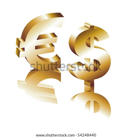 Metallic character of the dollar and euro on a white background for your design - stock vector