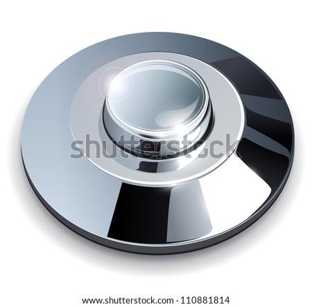 Metallic, chrome web button, vector illustration. - stock vector
