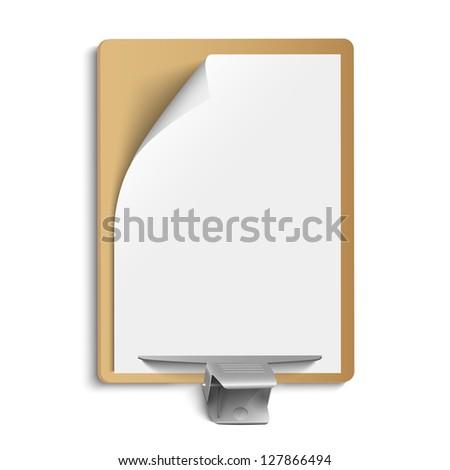Metallic clamp on blank sheet of paper. Vector eps10 - stock vector