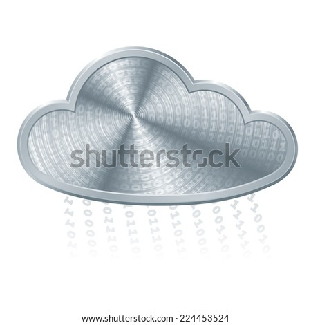 Metallic cloud with binary code. Eps8. CMYK. Organized by layers. Global color. Gradients used. - stock vector