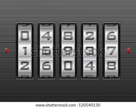 Metallic combination lock with five number. Vector illustration. - stock vector