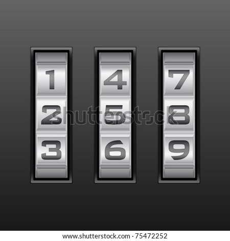 Metallic combination lock with three number. Vector illustration.