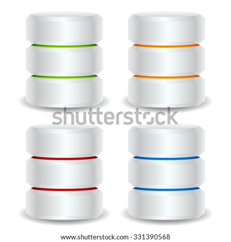 Metallic cylinders. Hard disk drive, HDD, server, hosting, database concept - stock vector