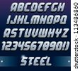 Metallic 3D Font. Vector Design Elements for your Text, Design or Logos - stock vector
