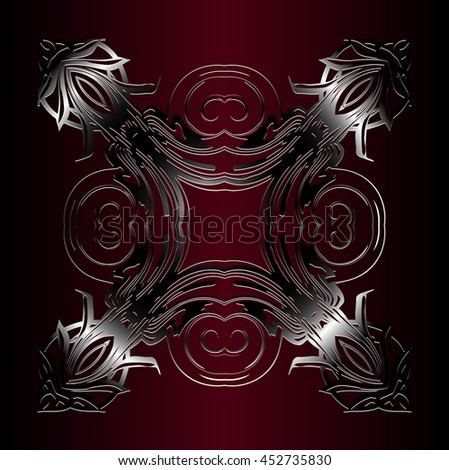 metallic embossed vintage pattern. Decor on a dark red background
