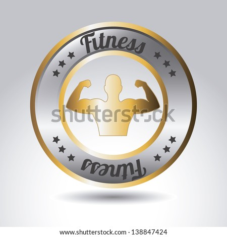 metallic fitness label over gray background. vector illustration - stock vector