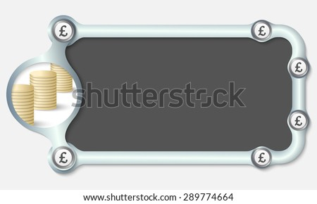 Metallic frame for your text and the symbol of pound sterling - stock vector