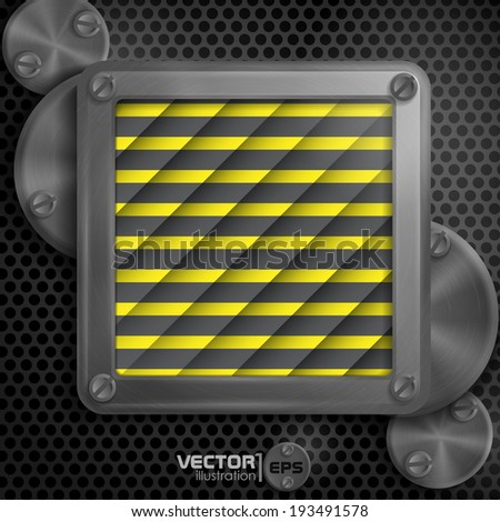 Metallic Frame With Screws On Abstract Metallic Background. Vector Illustration. Eps 10.