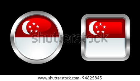 Metallic Glossy Flag series - Singapore - stock vector