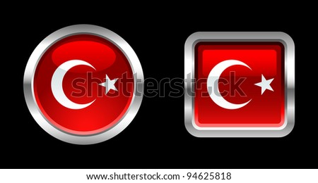 Metallic Glossy Flag series - Turkey - stock vector