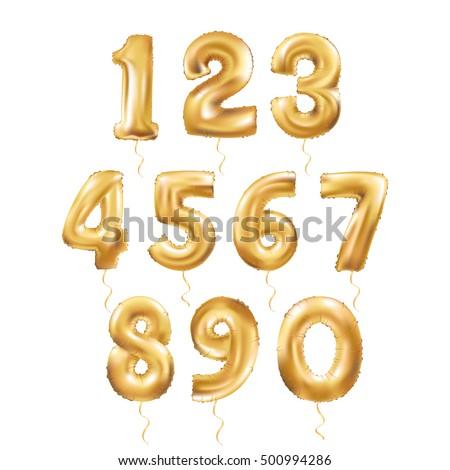 metallic gold letter balloons 123 golden stock photo (photo, vector