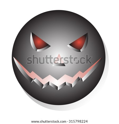 Metallic Halloween evil face. Icon isolated over white background vector illustration - stock vector