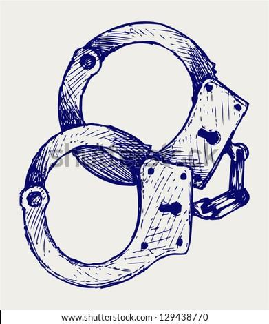 Metallic handcuffs. Doodle style - stock vector
