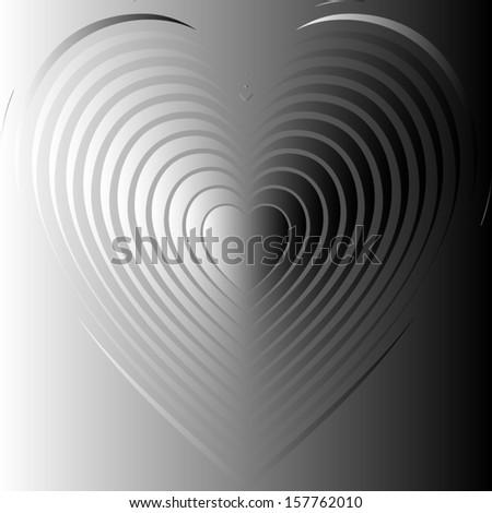 Metallic heart. vector - stock vector