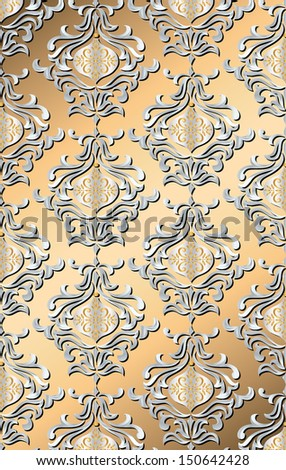 metallic holiday damask - stock vector