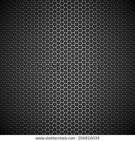Metallic honeycomb grid - stock vector