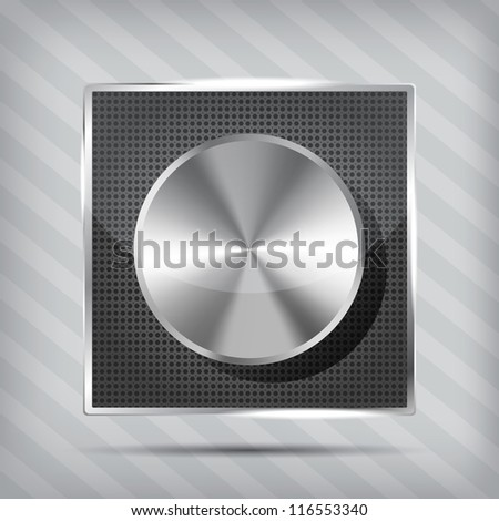 metallic icon with chrome volume knob on the striped background - stock vector