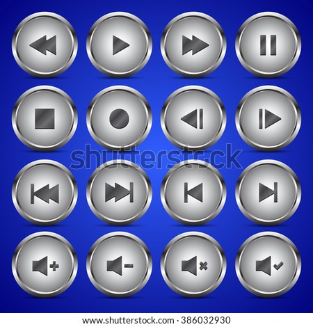 Metallic media player audio video icon circle button on blue background