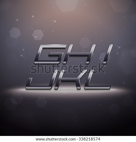 Metallic Movie Trailer Font from G to L - stock vector