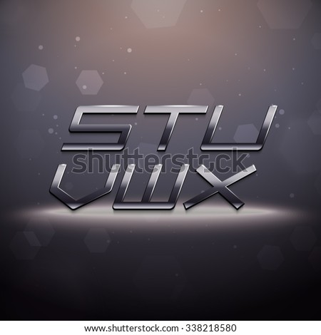 Metallic Movie Trailer Font from S to X - stock vector