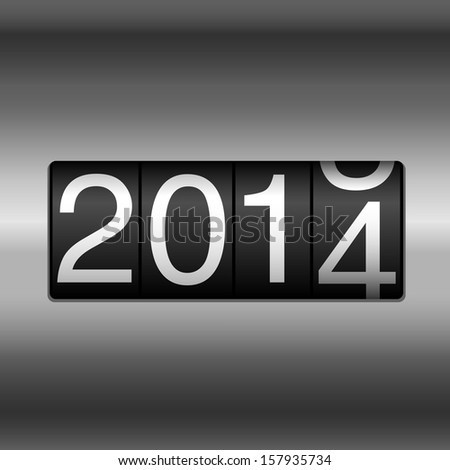 Metallic 2014 New Year Odometer - New Year 2014 design - odometer style with silver metallic background.  EPS8 file. - stock vector