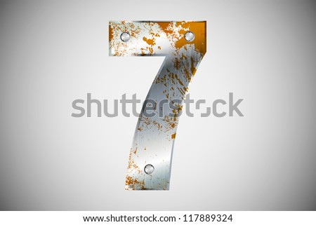 Metallic number 7 with rivets and screws - stock vector