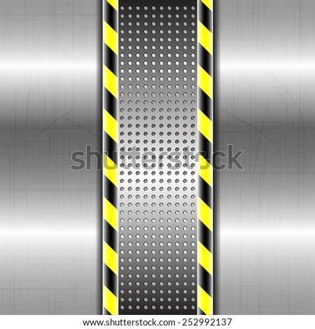 Metallic or chrome background or texture with yellow black strip vector illustration