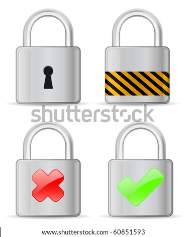metallic padlock - detailed icon - stock vector