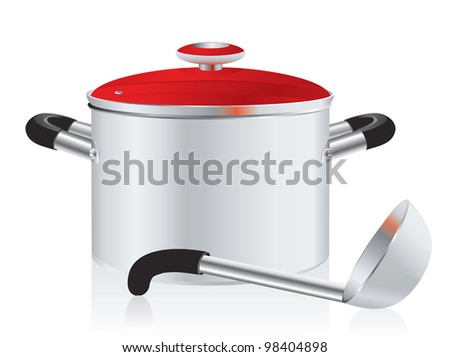 metallic pan, covered with lid and ladle on a white background - stock vector