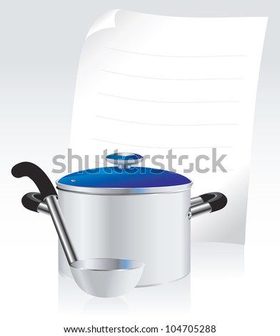 metallic pan, covered with lid, ladle  and white sheet of paper for your text - stock vector