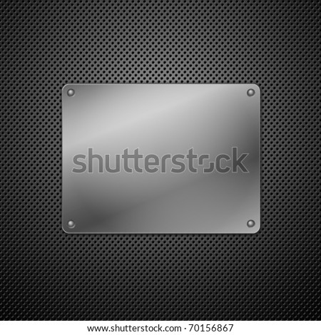 Metallic plaque for signage. Vector illustration - stock vector