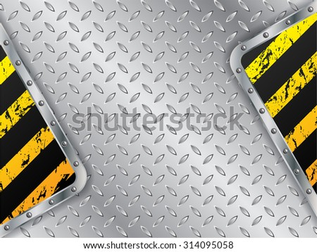 Metallic plate background with grunge striped elements - stock vector