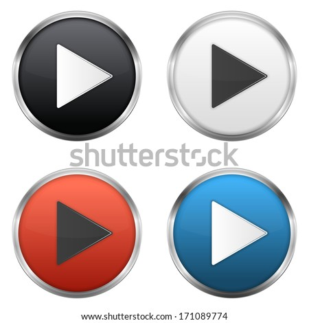 Metallic play buttons set,  vector eps10 illustration - stock vector