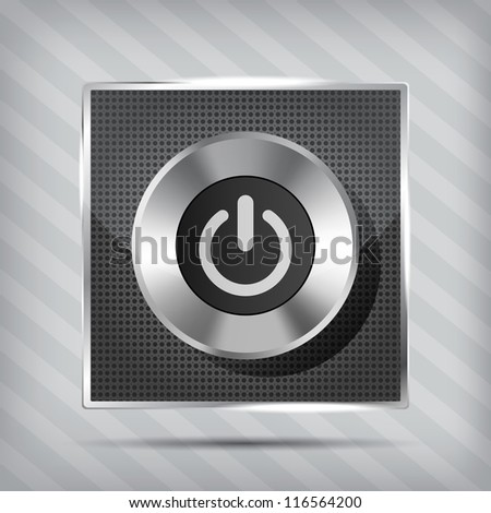 metallic power button icon on the striped background - stock vector