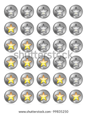 Metallic rating star buttons on white with reflection. Eps 10 Vector. - stock vector