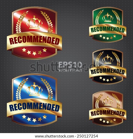 metallic recommended shield sticker, badge, icon, stamp, label, banner, sign, vector format - stock vector